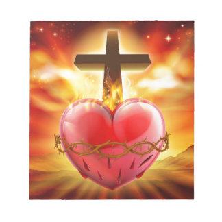 Sacred Heart Christian Illustration Notepad