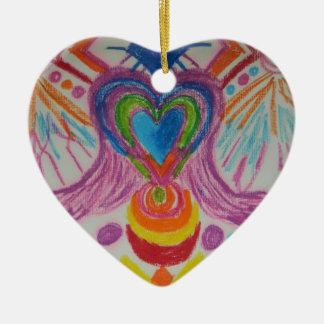 Sacred Heart Light Language Double-Sided Heart Ceramic Christmas Ornament