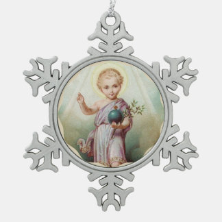 Sacred Heart of Child Jesus Holding the World Snowflake Pewter Christmas Ornament