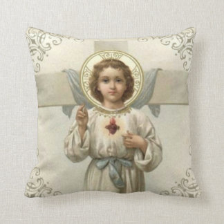 Sacred Heart of Child Jesus with Cross Cushion