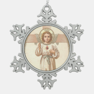 Sacred Heart of Child Jesus with cross Snowflake Pewter Christmas Ornament