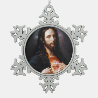 Sacred Heart of Christ Pewter Snowflake Decoration
