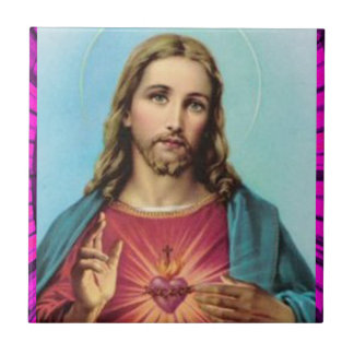 SACRED HEART OF JESUS 04 CUSTOMIZABLE PRODUCTS SMALL SQUARE TILE