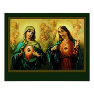 Sacred Heart of Jesus and Immaculate Heart of Mary Poster