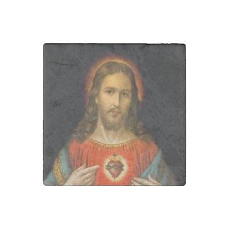 Sacred Heart of Jesus c1899 Stone Magnet