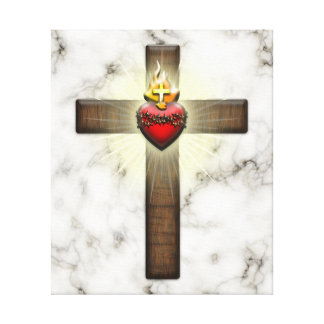 Sacred Heart of Jesus Cross Stretched Canvas Prints