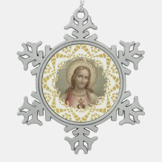 Sacred Heart of Jesus Gold Border Snowflake Pewter Christmas Ornament