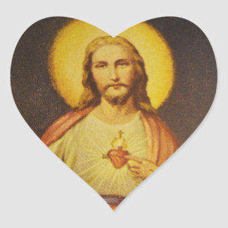 Sacred Heart of Jesus Heart Shaped Stickers