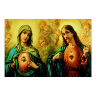 Sacred Heart of Jesus & Immaculate Heart of Mary Posters