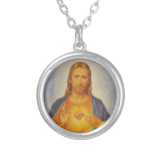 Sacred Heart of Jesus Round Pendant Necklace