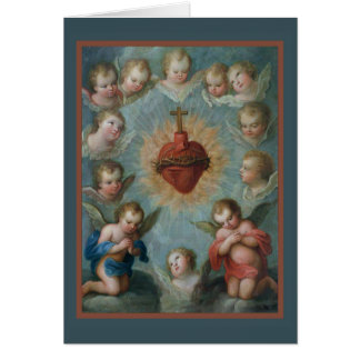 Sacred Heart of Jesus Thorns Angels Card
