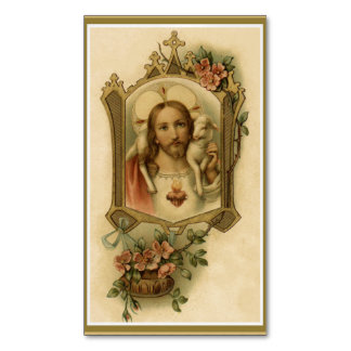 Sacred Heart of Jesus w/lamb & flowers Magnetic Business Cards