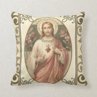 Sacred Heart of Jesus w/pink roses Cushion