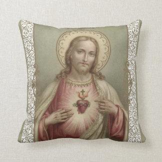 Sacred Heart of Jesus with decorative border Cushion