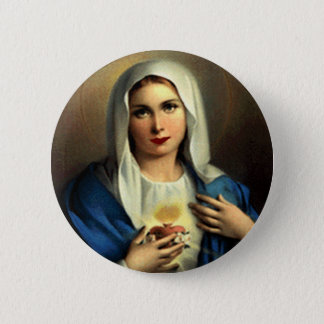 SACRED HEART OF MARY 09 CUSTOMIZABLE PRODUCTS 6 CM ROUND BADGE