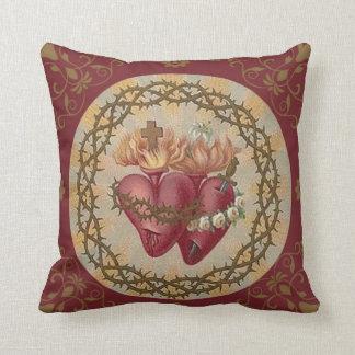 Sacred Hearts of Jesus & Mary Gold Decor Cushion