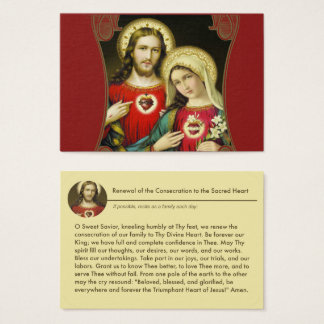 Sacred Immaculate Hearts Jesus Mary Prayer Business Card