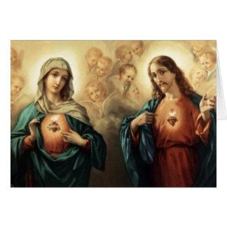 Sacred Jesus Immaculate Heart Mary Angels Cherubs Greeting Card