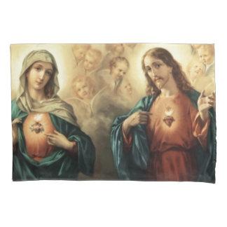 Sacred Jesus Immaculate Heart Mary Angels Cherubs Pillowcase