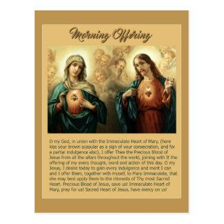 Sacred Jesus Immaculate Heart Mary Angels Cherubs Postcard