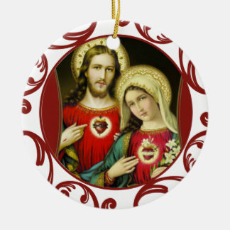 Sacred Jesus Immaculate Heart Mary Red Lace Ceramic Ornament