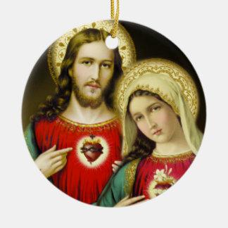Sacred Jesus Immaculate Heart Mary Round Ceramic Decoration