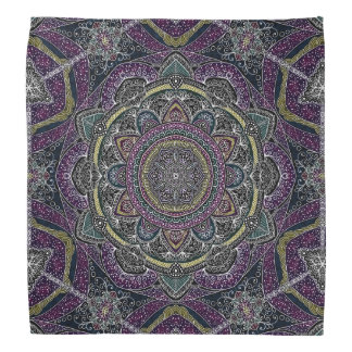 Sacred mandala stars and lace purple and black bandana