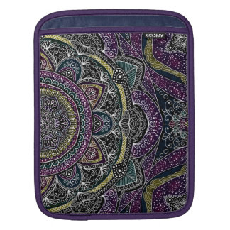 Sacred mandala stars and lace purple and black iPad sleeve