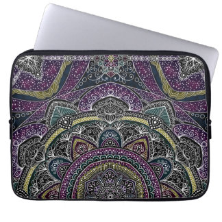 Sacred mandala stars and lace purple and black laptop sleeve