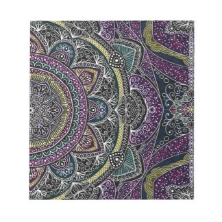 Sacred mandala stars and lace purple and black notepad