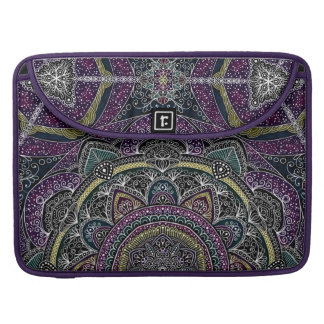 Sacred mandala stars and lace purple and black sleeve for MacBook pro