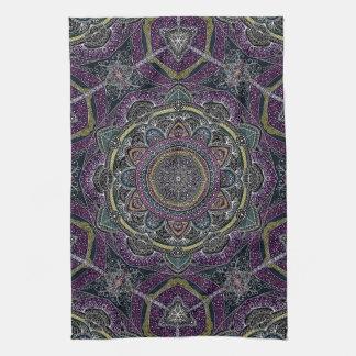 Sacred mandala stars and lace purple and black tea towel