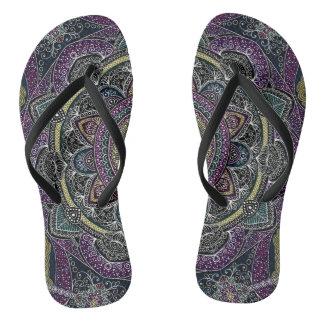 Sacred mandala stars and lace purple and black thongs