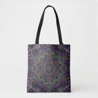 Sacred mandala stars and lace purple and black tote bag