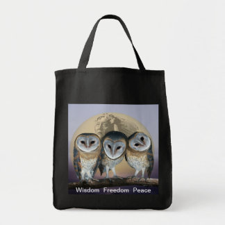 Sacred owls tote bags