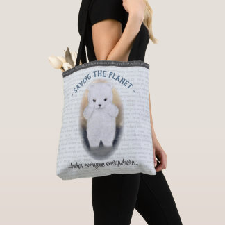 Sad Baby Polar Bear Climate Change Tote Bag