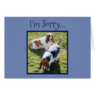 Sad Basset Hounds on Cute Belated Birthday Card