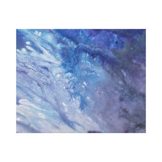 Sad blue white purple abstract paint wave water canvas print