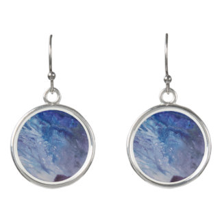 Sad blue white purple abstract paint wave water earrings