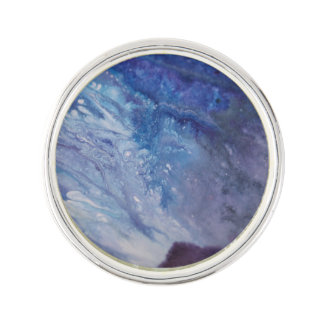 Sad blue white purple abstract paint wave water lapel pin