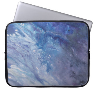 Sad blue white purple abstract paint wave water laptop sleeve