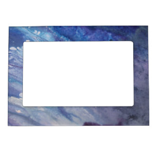Sad blue white purple abstract paint wave water magnetic picture frame