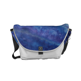 Sad blue white purple abstract paint wave water messenger bag