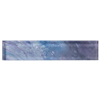 Sad blue white purple abstract paint wave water name plate