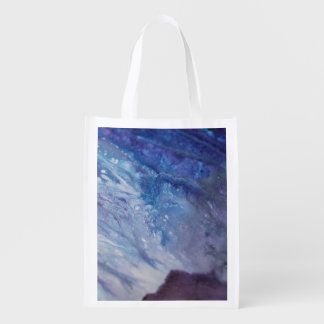Sad blue white purple abstract paint wave water reusable grocery bag