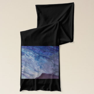 Sad blue white purple abstract paint wave water scarf