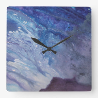 Sad blue white purple abstract paint wave water square wall clock