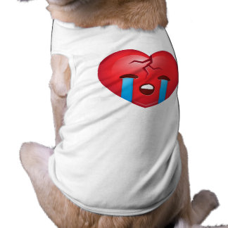 Sad Broken Heart Emoji Sleeveless Dog Shirt