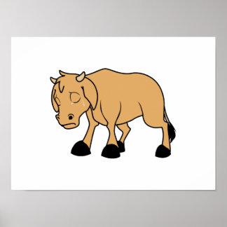Sad Brown Calf World Vegetarian Day Animal Rights Poster