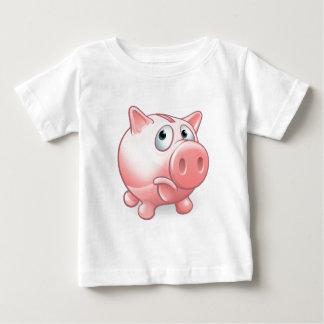Sad Cartoon Piggy Bank Baby T-Shirt